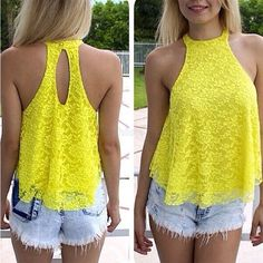 Cheap Sexy Sleeveless Back Split Solid Yellow Lace Shirt on Luulla Outfits For Teens, Cute Outfits, Lace Halter Top, Lace Vest, Femmes Les Plus Sexy, Yellow Lace, Yellow Roses, Summer Shirts, Lace Tops