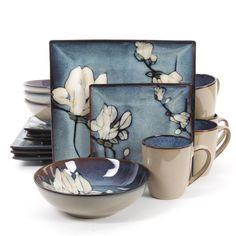 Gibson Elite Bloomsbury Blue Flower Dinnerware Set