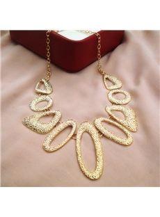 Super Formado Oval del Oro de  Plateó  Collar de las Mujeres