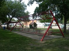 WORLD'S LARGEST PORCH SWING – Located in a park in Hebron, Nebraska. Suspended from a giant crop irrigator pole. Reportedly seats 16 adults or 24 children.