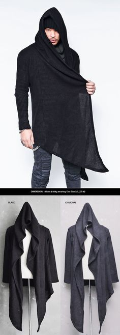 Dark Avant Garde Mens Unbalance Diagonal Cut Waffle Knit Hood Cape Coat Guylook
