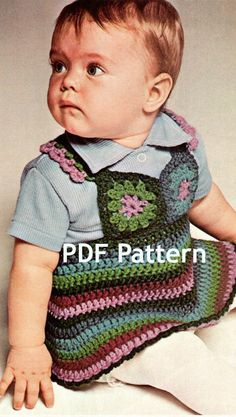 How cute this would be for Bella.  Love me some Vintage Granny Square.Gotta get this pattern. Vintage Granny Square Toddler Jumper Dress by BubbleGumInTheMail