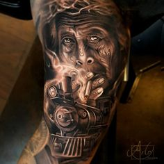 Black and grey man portrait tattoos done by tattoo artsit Arlo DiCristina Graneд-Junction Face Tattoos, Body Art Tattoos, Sleeve Tattoos, Tatoos, Portrait Tattoos, Man Portrait, Arlo Tattoo, Arlo Dicristina, Train Tattoo