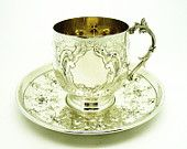 Solid Silver French Cup & Saucer, Sterling, Art Nouveau, France, c.1890, Antique, Continental, REF:249P