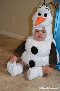 Baby Frozen Olaf costume for Halloween 2014 - fuzzy