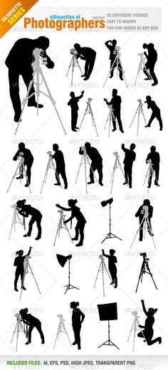 Buy Photographers by Jackrust on GraphicRiver. Vector set of 20 different photographer figures. Ai, eps, psd, high jpeg and transparent png files included in the zi. Movie Decor, Silhouette Tattoos, Cinema, Photoshop, Comics, Illustration, Vectors, Photographers, People