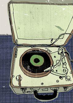 portable record player illustration artist name kavel rafferty Musik Illustration, Gravure Illustration, Retro Illustration, Arte Peculiar, Graphic Art, Graphic Design, Oeuvre D'art, Vinyl Records, Vinyl Music