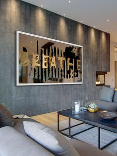 Breathe by Marmont Hill at Gilt www.marmonthill.com. Gold lettering on a mirror, artwork.
