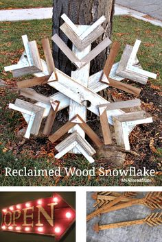 Reclaimed wood snowflake, by My Altered State, featured on… Christmas Signs, Country Christmas, Rustic Christmas, Christmas Projects, Holiday Crafts, Christmas Holidays, Christmas Ideas, Primitive Christmas, Outdoor Christmas