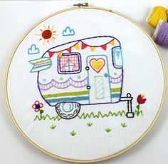 Way Cute Retro Vintage Camper Hand Embroidery PDF Pattern. Features a cute Retro Style Camper, decorated with fun dots and stripes, bunting, and