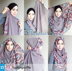 Hijab step by step z mughal Square Hijab Tutorial, Hijab Style Tutorial, Turban Hijab, Hijab Dress, Muslim Fashion, Hijab Fashion, Beau Hijab, How To Wear Hijab, Simple Hijab