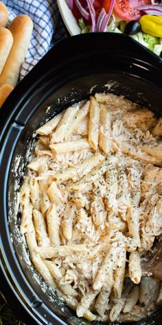 Use Olive Garden Italian Dressing to make this Slow Cooker Olive Garden Chicken Pasta! It's a creamy pasta dish that has so much flavor. - The Magical Slow Cooker Chicken Pasta Recipes, Meat Recipes, Slow Cooker Recipes, Crockpot Recipes, Cooking Recipes, Pasta Dishes With Chicken, Slow Cooker Pasta, Slow Cooker Huhn, Crock Pot Pasta