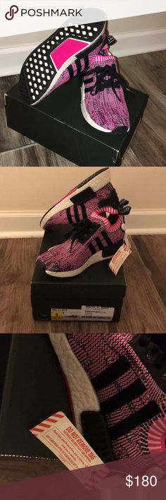 Adidas NMD R1 Pink NWT Brand new!! Never worn.  Bought these at Flight Club but these run big. It still has the tag from Flight Club  (shown in pics) and comes with original box. This is a size 7 but fits an 8 or 8.5.  No trades please just trying to sell. adidas Shoes Sneakers