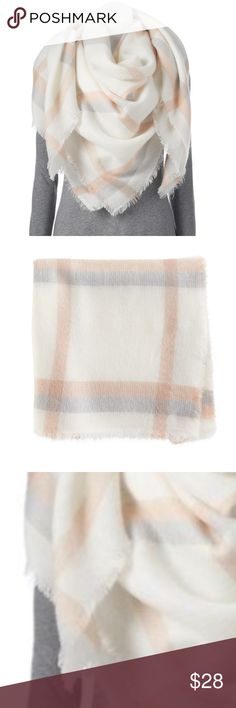 """New PLAID Blanket SCARF. BRAND NEW With TAGS! Tie your cold-weather look together with this stylish plaid scarf. Super soft and plenty of fabric. Can be worn in so many ways 😃  PRODUCT FEATURES •Plaid design •Frayed edges •56"""" x 56"""" •Acrylic . Reasonable offers considered but no lowballing please. Bundle 2 + items for an additional discount and to pay just one shipping charge. I record all my items as i prepare the shipment to protect myself from scams. No trades please LC Lauren…"""