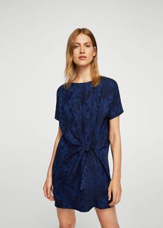 Bow jacquard dress - Woman | MANGO Greece
