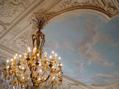 Chandelier & ceiling. (Historical, architectural, stylistic, periods...ex Georgian, regency, Victorian, gilded.)
