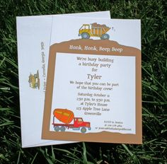 Truck and Construction Birthday Invitation by TigerLilyInvitations, $16.00