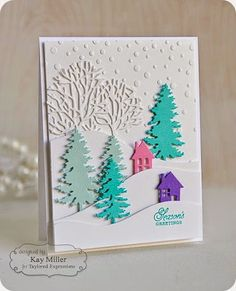 Snowfall Embossing Folder, Build a Scene Rolling Hills dies, Seasonal Trees die, Evergreen die: Taylored Expressions, winter, Kay Miller