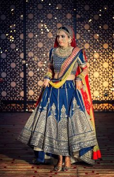 Blue sabaysachi lehenga. Find more details on wedmegood.com
