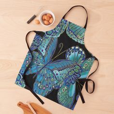 """Teal and Black Butterfly Pattern"" Apron by HavenDesign 