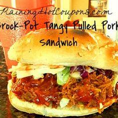 Crock-Pot Slow Cooker Tangy Pulled Pork Sandwich Recipe from www.raininghotcoupons.com, found @Edamam!