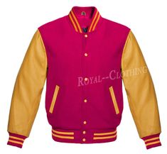 Super Varsity Letterman Wool Jacket with Real Leather Sleeves XS-4XL
