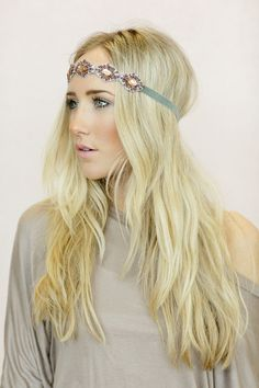 Stone and Velvet Headband, Bohemian Hair Accessories, Beautiful Lilac Crystal Beaded Hair Bands, Jeweled Headband (HB-JWL-3) on Etsy, $28.00