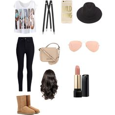 Normal Day by benue on Polyvore featuring polyvore fashion style Rodarte UGG Australia Kenneth Cole Yves Saint Laurent Ray-Ban Brixton Lancôme
