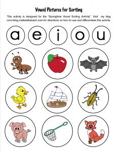 33 FREE colorful short vowel pics. Great for sorting activities during your small group instruction!