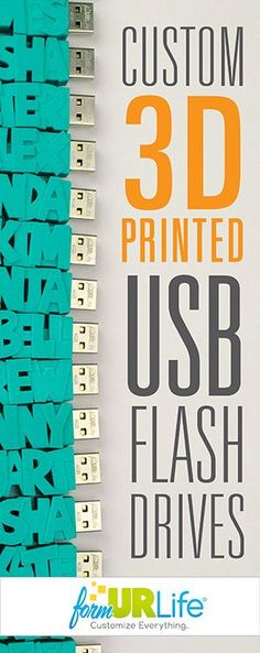 Totally customizable 3D Printed USB Flash Drives. Personalize with any name, color, design and more! The perfect gift!