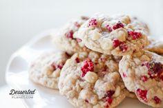 White Chocolate Raspberry Cookies.  Pretty for Valentine's Day.  |  DessertedPlanet.com