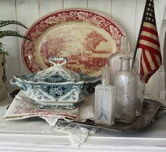 Beautiful vintage red and blue transferware vignette. From Itsy Bits and Pieces. Summer Party Decorations, 4th Of July Decorations, Fourth Of July Decor, July 4th, Vintage String Lights, American Decor, Happy 4 Of July, Red White Blue, Vintage Decor