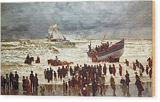 The Lifeboat Wood Print by William Lionel Wyllie