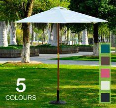 2.5m Wood Wooden Garden Parasol Sun Shade Patio Outdoor Umbrella Canopy New
