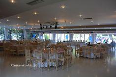 Γενική άποψη της αίθουσας στον χώρο Φαιστός του κτήματος Αριάδνη, πριν τη δεξίωση γάμου