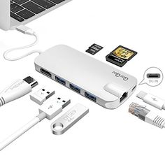 #QacQoc #GN30H Premium #USB-C #Hub with Power Delivery 3 SuperSpeed #USB 3.0 Ports for #MacBook 12-Inch(Silver)