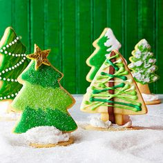 Cookies can serve as a decoration, too! Find more Christmas sugar cookie ideas here: http://www.bhg.com/christmas/cookies/christmas-sugar-cookies/?socsrc=bhgpin100914sugarcookietrees&page=1
