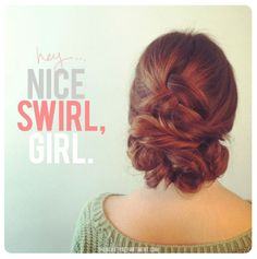 This little updo should be a great help in a situation like that because if you know how to french braid inside out, then you can probably master this updo with a teeny bit of practice. This can be done on hair that's shoulder length and longer.
