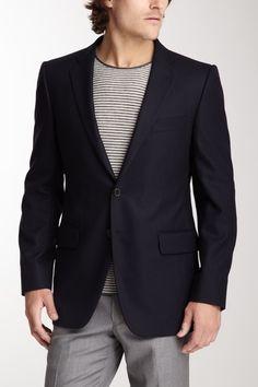 Joseph Abboud // Hudson Navy Solid Trim Fit Wool Blazer