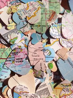 500 Vintage Atlas Map Heart Cutouts Assorted by TINEdesigns