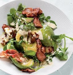 Avocado, Bacon and Watercress Salad with Horseradish Dressing