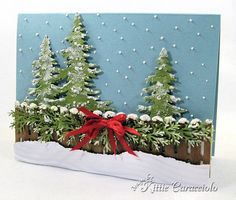 Snowy Fence and Trees by kittie747 - Cards and Paper Crafts at Splitcoaststampers