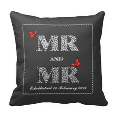 Mr and Mr White Lace  Word Art  Red Butterflies Throw Pillow personalized wedding gift for a same sex gay couples wedding day