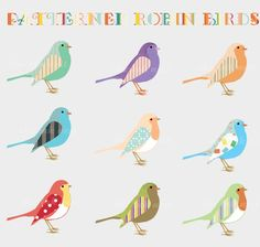 Clip Art - Patterned Robin Birds - for commercial and personal use via Etsy