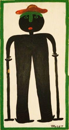 Stellvertretend ein Selbstportrait von Mose Tolliver. der von 1920-2006 lebte. Ihm ist eine eigene Pinnwand gewidmet. Der Künstler erlitt einen schweren Unfall bei dem seine Beine verletzt wurden und brauchte zeitlebens Krücken. Arbeitsunfähig geworden, begann er als Mittel gegen die Langeweile zu malen und wurde einer der wichtigsten Aussenseiterkünstler der USA. Diese Arbeit, 30 x 60 cm, ist neben vielen Arbeiten weiterer Künstler zu sehen auf www.aussenseiterkunst.ch