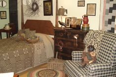Adorable Primitive Bedroom...too much stuff though...I want to get rid of all the stuff there is in my room now...hope to get motivated soon...but need help....
