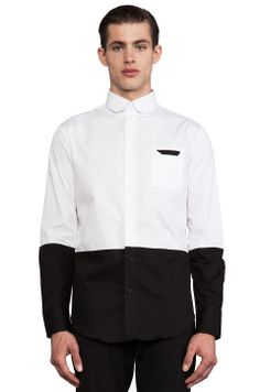 Munsoo Kwon Two Tone Shirt in White & Black from REVOLVEclothing