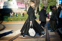 See all the best street style looks from Milan Fashion Week Fall 2014 here. Cool Street Fashion, Milan Fashion, Leather Trench Coat, Street Outfit, Complete Outfits, Street Style Looks, Catwalk, Girl Fashion, Style Inspiration