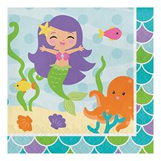Creative Converting 317261 16 Count Paper Lunch Napkins Mermaid Friends -- Check out the image by visiting the link. (This is an affiliate link) #PartyTableware