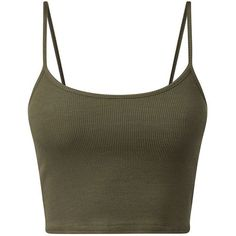 Khaki Cropped Cami ($4.97) ❤ liked on Polyvore featuring tops, crop tops, shirts, tank tops, cami shirt, strap crop top, cami top, camisole tops and strappy cami top